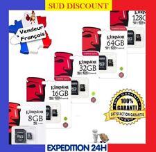 CARTE MÉMOIRE MICRO SD SDXC SDHC 128 64 32 16 8 GO GB GIGA KINGSTON + ADAPTATEUR