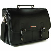 Alpine Swiss Leather Briefcase Laptop Case Messenger Bag *1 Year Mfgs Warranty*