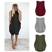 Women Summer Casual Crew Neck Sleeveless T Shirt Solid Pockets Loose Tank Dress