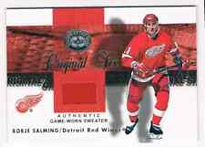 2001-02 FLEER GREATS OF THE GAME BORJE SALMING JERSEY 1 COLOR DETROIT RED WINGS