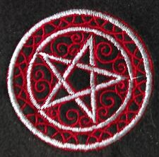 Goth Biker 60mm Dia Embroidered Red/Silver Pentagram Iron/Sew on Patch