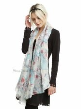 New Disney Alice In Wonderland Falling Watercolor Viscose Oblong Neck Scarf