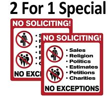 No Soliciting Sign Sticker / Decal. 2 For 1 With Free Shipping!