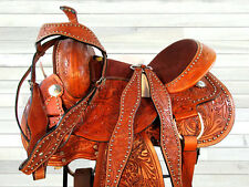 WESTERN SADDLE 15 16 17 TRAIL PLEASURE SILLA DE MONTAR CABALLO LEATHER TACK SET