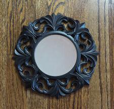"New ListingOrnate Small Resin/Plastic Frame Black Wall Decor Accent Hanging Mirror 9.75"""