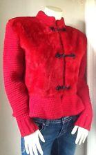 Vintage Tapis Rouge  Chaumiere-aur Tricot Faux Fur Knit Coat 1980s Red Nice!!  M