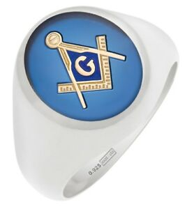 Customizable Solid Back Men's 0.925 Sterling Silver Gold Masonic Freemason Ring