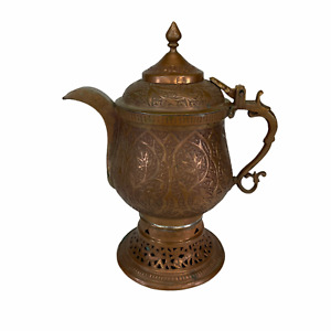 Antique Kashmiri Copper Samovar Tea Pot Persian Middle East Handmade Engraved