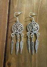 Boho Filigree Silver Tone Dream Catcher Feathers Handmade Dangle Earrings