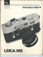 MG-157 Leitz, Leica M5, Ten M5 Quality Points Advertising Booklet Vintage Illust