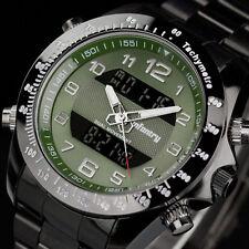 INFANTRY Mens Digital Quartz Wrist Watch Chronograph Army Green Stainless Steel