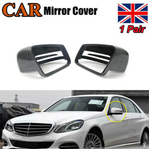 Pair Carbon Wing Mirror Cover Cap For Mercedes Benz W204 C207 W212 W221 E250 2x