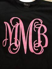 Monogram Initials Full Front Glitter Initial Shirt Personalized New Short Sleeve
