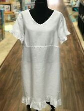LD1009 White XLarge NWT Match Point Linen Dress Flax Baby Ruffle Light Plus