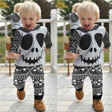 Toddler Baby Halloween Cartoon Skull&Striped Hoodie Tops+Geometry Pants Outfits