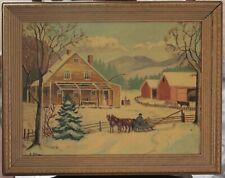 "Vintage ""The Old Farmhouse"" Folk Art Painting - Circa 1956"