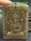 Antique Chinese Nephrite Celadon-HETIAN-OLD Jade Buddhism Statue QING DY.