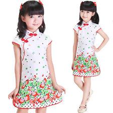 bonito floral niña CHINOS Vestido De Color Rosa Rojo Azul en 3 4 5 6 7 años