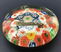 Vintage millefiori Glass Paperweight Original Label VTG Floral Flowers