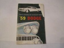 1959 DODGE AUTOMOBILE OWNER'S MANUAL - SEE PICS