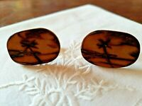 "Vintage Hawaiian Cufflinks etched wood Beach Scene 1 3/16"" x 3/4"" ~ lot #11"