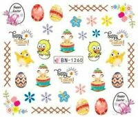 Nail Art Water Decals Stickers Transfers Easter Bunny Chicks Flowers Eggs BN1260