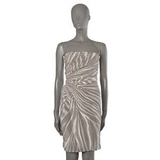 42163 auth GUCCI taupe off-white ZEBRA silk Belted Strapless Dress 42 M