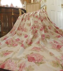 "Dunelm Pair Annabella Pink Vintage Rose Floral Pencil Pleat Curtains 66""w x 72""D"