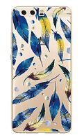 HUAWEI P10 Coque souple transparente avec impression fantaisie ( Plumes bleues )