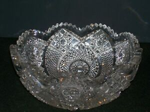 """ABP Crystal Bowl 8 1/4"""" dia. Signed Clark! *Lovely Deep Precision Cut Pattern*"""