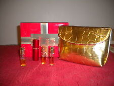 Estee Lauder Perfume Set, Beautiful, Pleasures, and Sensuous,Gold Bag and Case