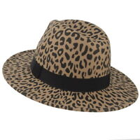 Men Women's Wide Brim Fedora Wool Hat Leopard Print Wool Panama Jazz Hat