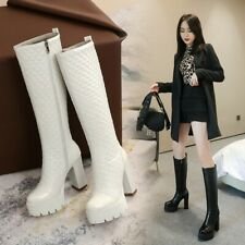 Womens High Block Heel Side zip Platform Round toe Knee High Boots Party Shoes