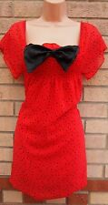 PUSSYCAT RED SPOTTY BLACK BOW FRONT SMOCK BAGGY TUNIC CAMI VEST TOP BLOUSE 12 M