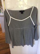 Calvin Klein Jeans Womens M Black White Striped Knit Top Empire Waist EUC