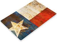 TIN SIGN Texas Flag Metal Décor Wall Art Store Shop Barn Farm Garage A647