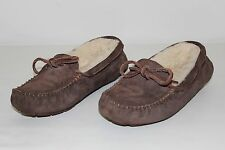 UGG Australia Womens Size 6 Brown Leather Fur Slip On Moccasins Slippers Shoes