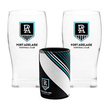 AFL Pint Glasses Set of 2 and Can Cooler Port Adelaide Power -