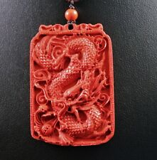 Cinnabar Mineral Chinese Dragon Pendant Necklace w/Free Jewelry Box and Shipping