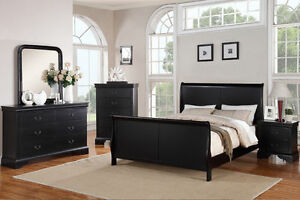 Smooth Surface Curved Panels Cal. King Bedroom Set Bed Mirror Dresser Nightstand