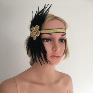 Zwanzigerjahre Black Feather Kopfschmuck Charleston Flapper Stirnband Frauen
