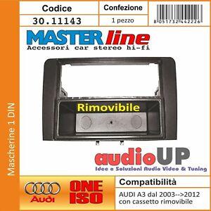 MASCHERINA RADIO 1 DIN DOPPIO ISO AUDI A3 DA 2003 A 2012 ADATTATORE CON CASSETTO