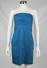 J Crew Women Petite Blue Strapless Summer Wedding Cotton Taffeta Ashley Dress 4P