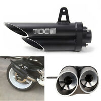 Black CNC Dual Motorcycle Exhaust Pipe Muffler Tip Tuning Accessories Universal