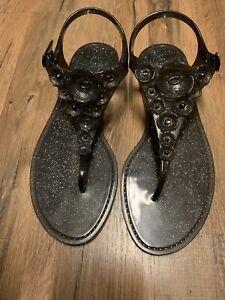 NIB - $95 COACH Women's Tea Rose Jelly Flat Sandals Shoe in Black Gltr - Size 9