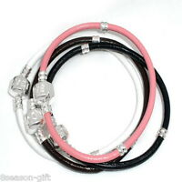 Wholesale Lots Gift Mixed  Real Leather Bracelets European Charm Bracelet 18cm