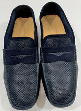 SANTONI Italy Men's Blue Leather Penny Keeper Loafer Caoutchouc Sole Size 10 HTF