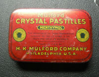 Vintage Mulford Crystal Pastilles Empty Advertising Tin Box