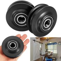 4X Sliding Barn Door Wheel Hardware Track Kit Closet Cupboard Rail Roller  z