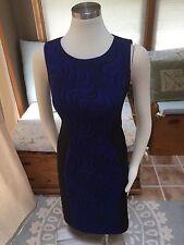 Evan Picone Black Label Royal Blue Swirl Slimming Sheath Stretch Dress 2 EUC
